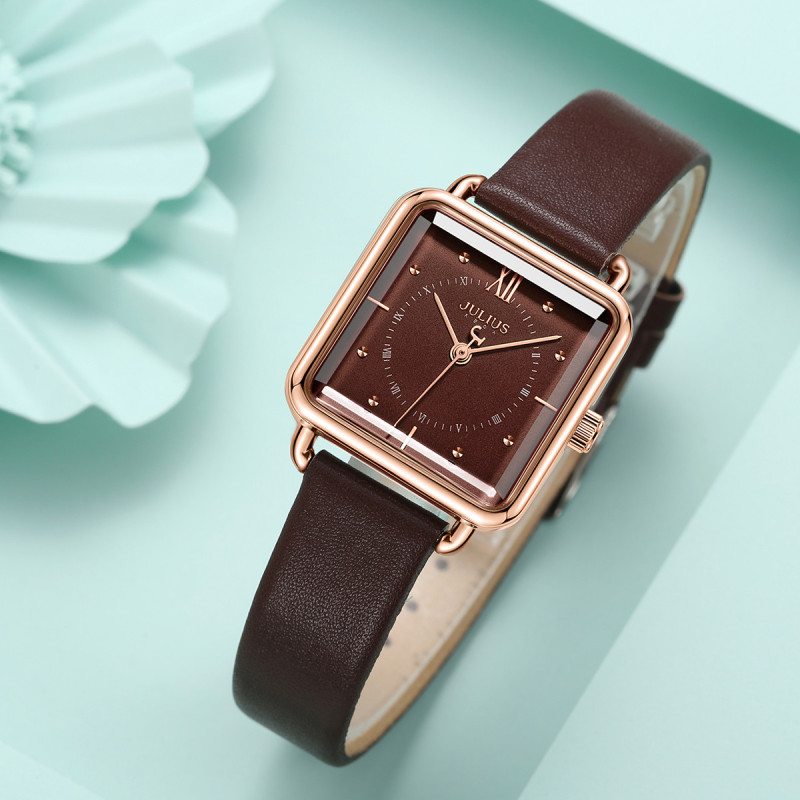 Đồng hồ nữ Julius JA-1123 dây da mặt đá xoay