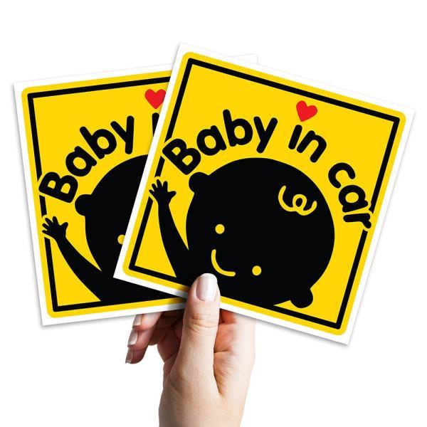 2 logo sticker 10cm x 10cm Baby In Car cho xe ô tô