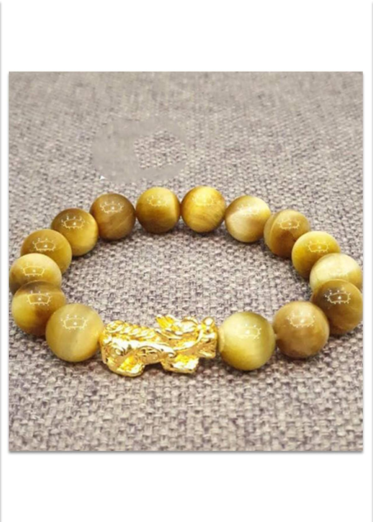 Vòng tay phong thủy đá mắt hổ vàng MU359 Tỳ hưu vàng-14MM