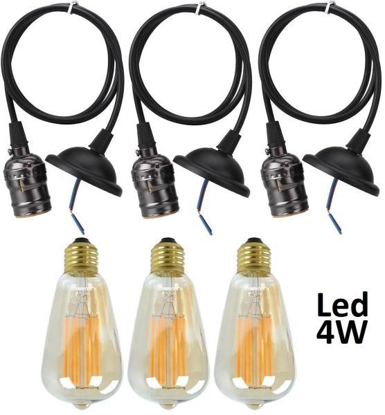 3 Bộ Dây Đèn Thả Cổ Điển Vintage Edison 4W 220V Black