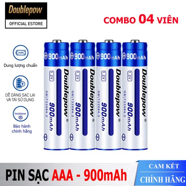 Bảng giá [Hộp 4 viên] Pin sạc AAA 900mAh Doublepow cao cấp (pin xanh) - Bảo hành chính hãng