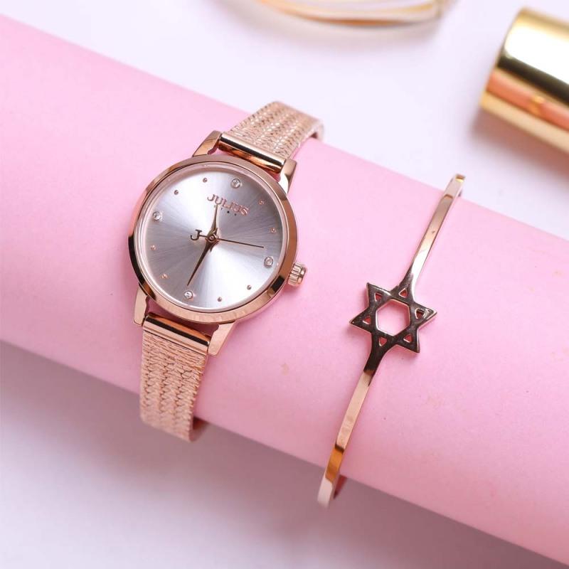Đồng hồ nữ Julius Star Hàn Quốc JS-045 dây xương cá mặt kính sapphire