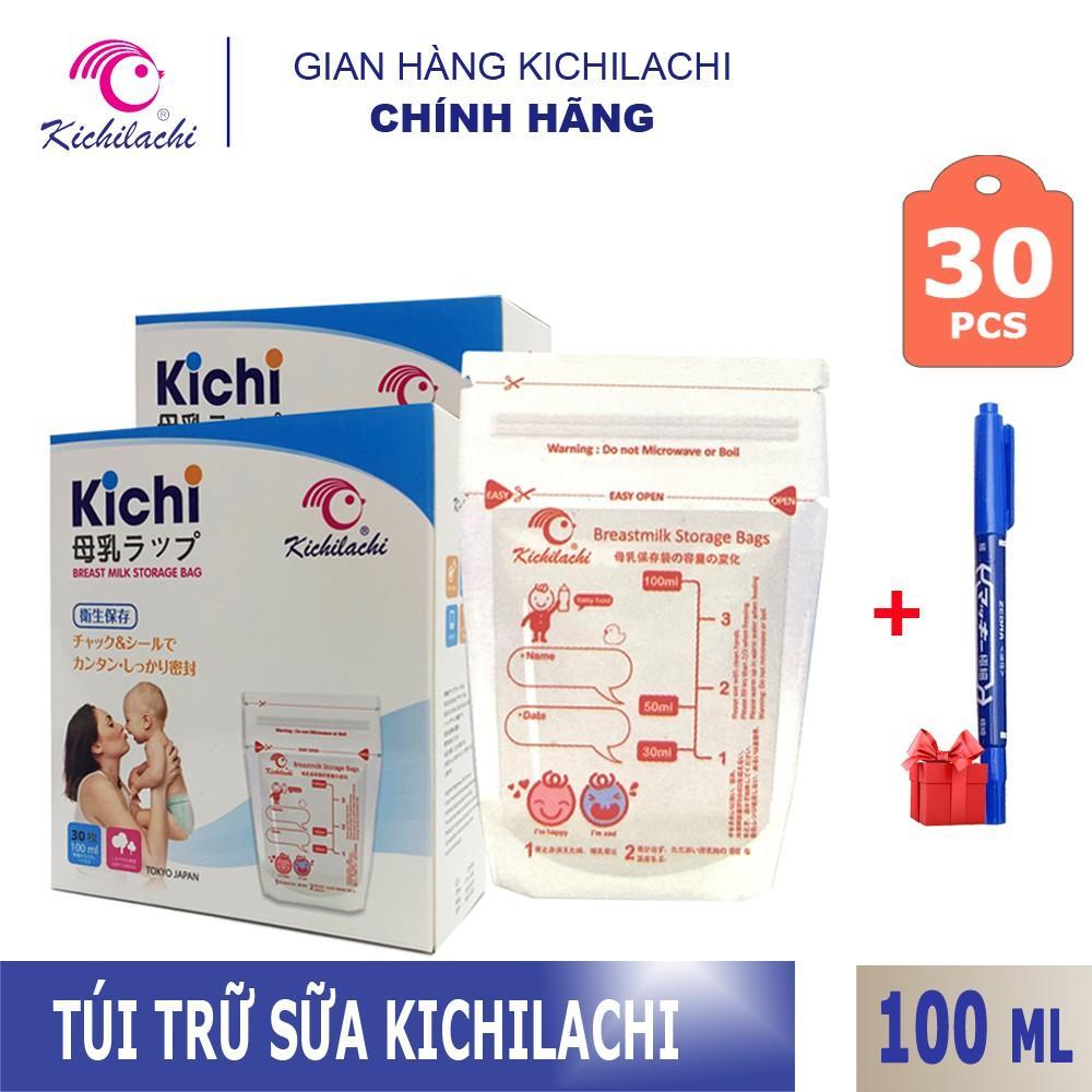 Voucher Ưu Đãi Hộp 30 Túi Trữ Sữa Kichilachi 100ml Tặng Kèm Bút Ghi Thông Tin
