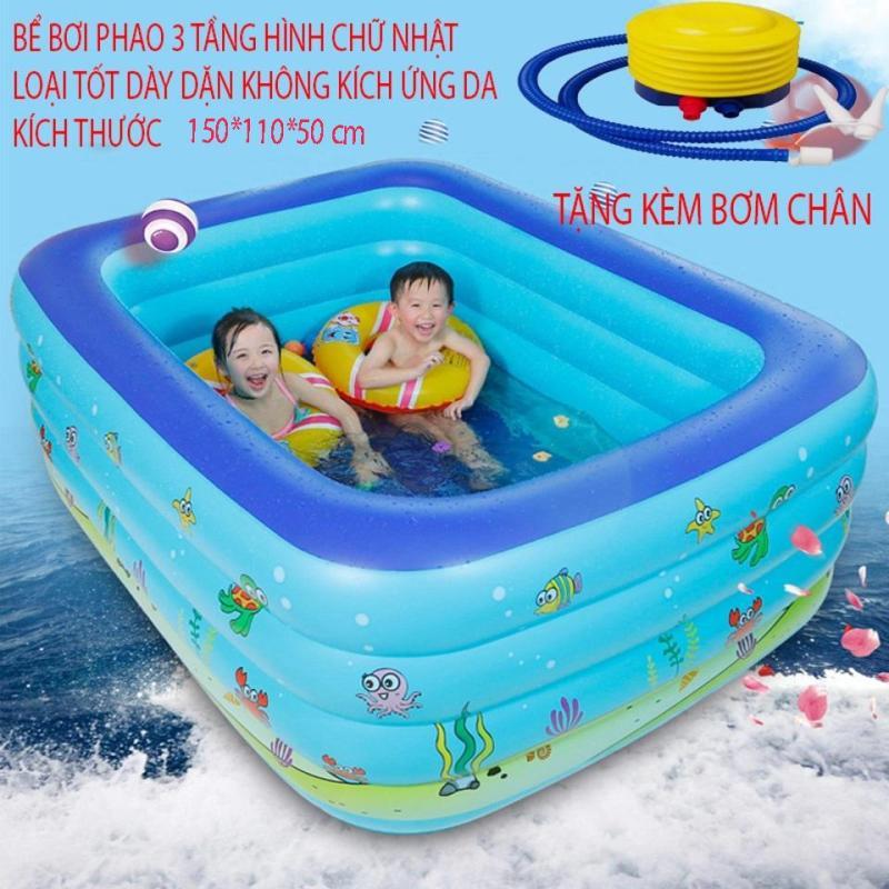 Cực Hot Bể bơi phao cỡ lớn cao cấp, giá hạt dẻ, Bể bơi phao 3 tầng hình chữ nhật kích thước 150x110x50cm, chống trơn trượt, cho bé thỏa sức vui chơi, BH uy tín bởi GOod 365, Mẫu SP.1,