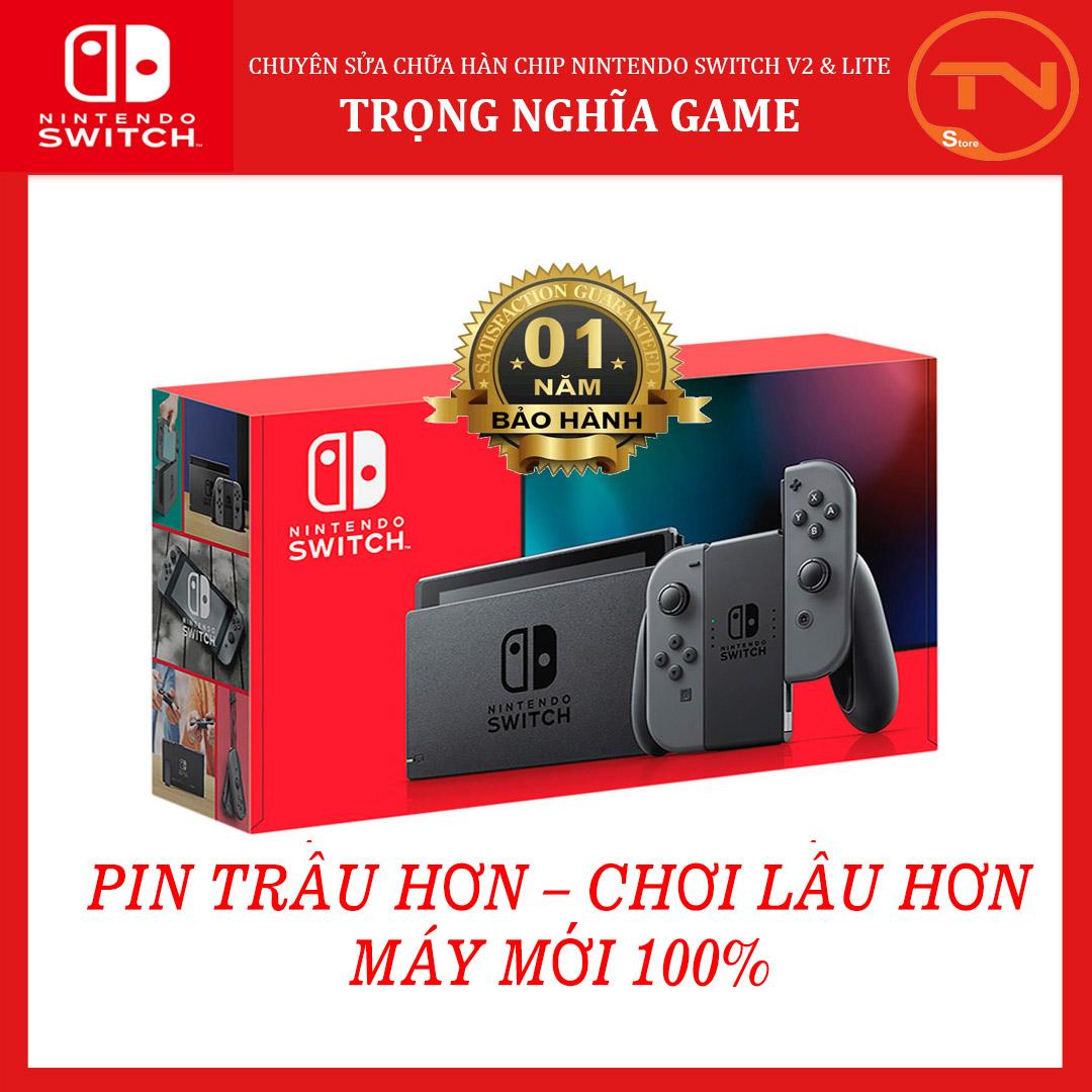 [TRẢ GÓP 0%] Máy game Nintendo Switch New Model Gray Joy-Con [Pin Lâu Hơn] + 12 tháng bảo hành + Tặng Dán Cường Lực