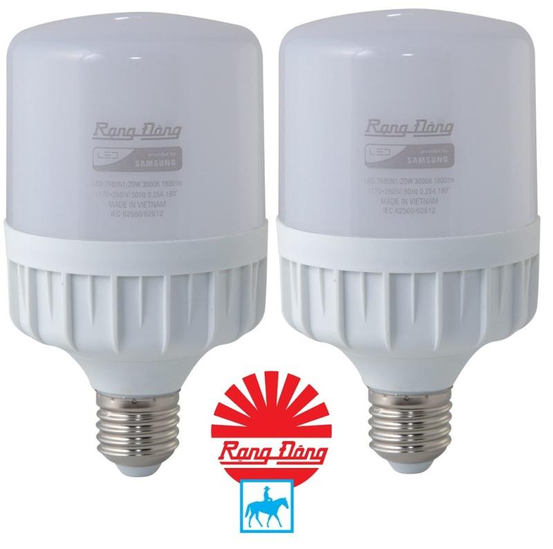 Bộ 2 Bóng đèn led bulb trụ 20W RẠNG ĐÔNG Chip LED Samsung Áng Sáng Trắng