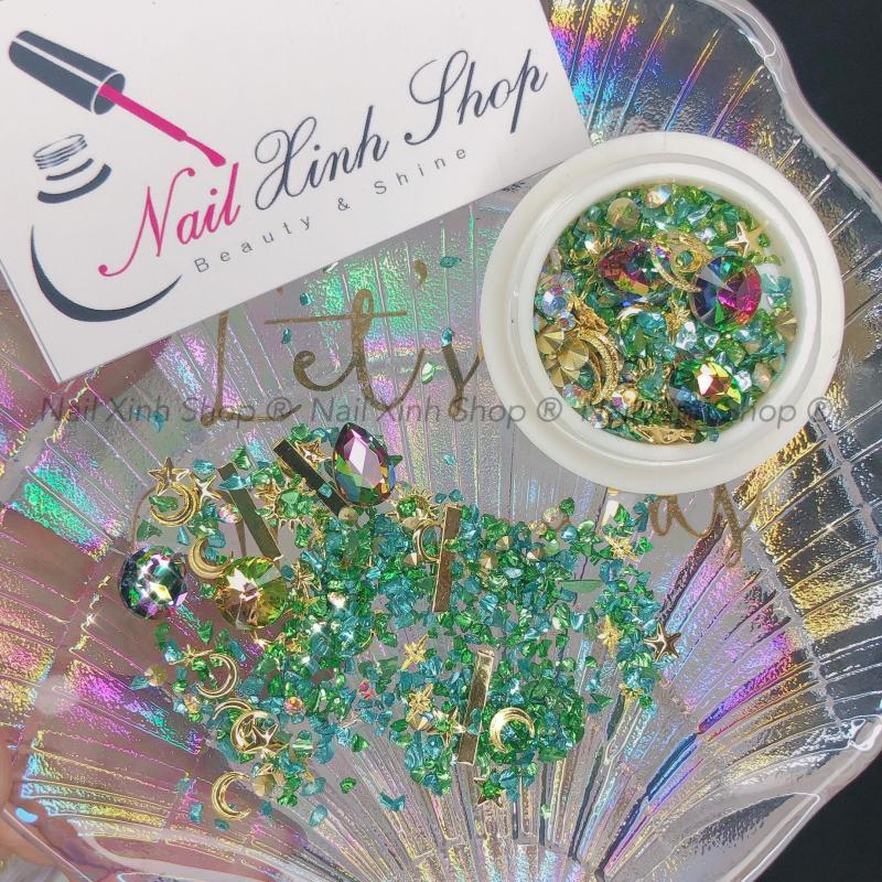 Đá trang trí móng, đá nail hộp tròn, phụ kiện nail, trang trí móng tay