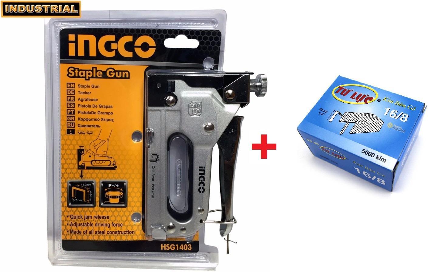 Kìm bấm đinh ghim gỗ điều chỉnh tăng lực 4-14mm Tặng 5000 đinh ghim 16-8 INGCO HSG1403