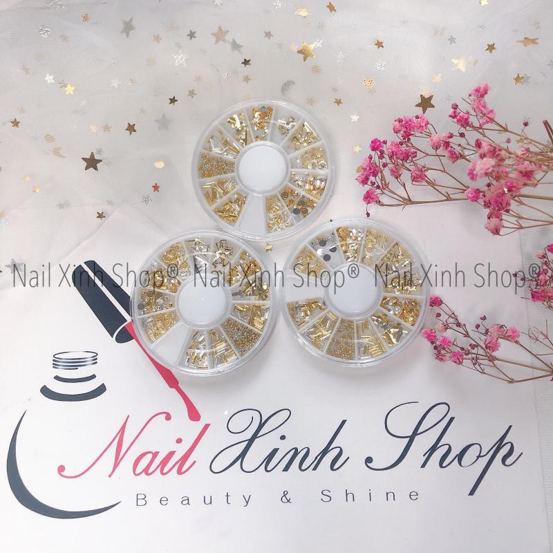 Khay charm tròn trang trí móng tay, phụ kiện nail chuyên dụng