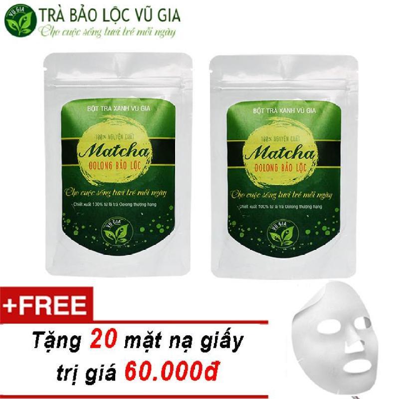 Combo 2 Matcha Oolong Nguyên Chất Bảo Lộc Vũ Gia (túi/100gr) + Tặng 20 Mặt Nạ Giấy Đắp Mặt ( thanh lọc cơ thể ) nhập khẩu