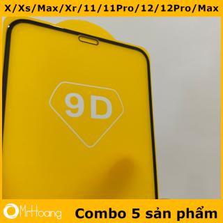 [Không hộp] Combo 5 Kính cường lực Iphone 12, 12Pro, 12Promax, 11 Pro, 11 Pro max, X, Xs, XsMax full màn 9D (Miếng Dán màn hình Cường Lực Iphone 11Promax, XsMax, 11Pro, X, Xs, 12, 12Pro, 12Promax) thumbnail