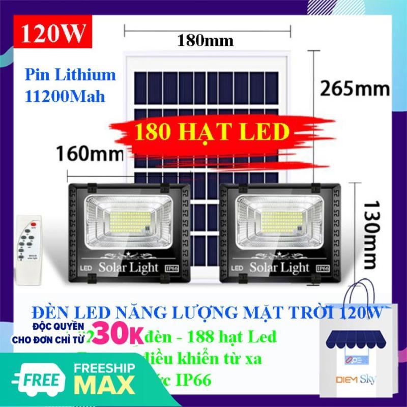 Đèn năng lượng mặt trời 120W, 2 bóng đèn 180 hạt Led, chống nước chuẩn IP66, pin lithium dung lượng lớn 11200Mah, đèn sáng, có remote điều khiển BH 1 năm