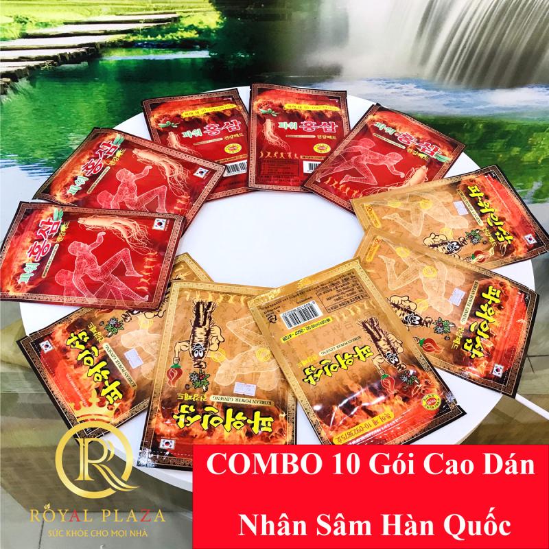COMBO 10 Gói Cao Dán Hồng Sâm Hàn Quốc - 20 miếng/ 1 gói - hỗ trợ đau lưng, đau vai gáy, nhức mỏi cơ thể giá rẻ