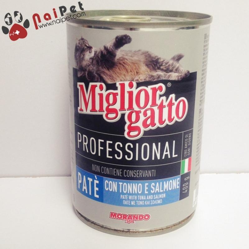 Thức Ăn Dinh Dưỡng Cho Mèo Pate Vị Cá Ngừ Và Cá Hồi Professional Miglior Cane Morando 400g