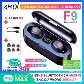 Tai nghe bluetooth 5.0 Amoi F9 TWS chính hãng kén sạc 2000 mAh kiêm sạc dự phòng kiêm sạc dự phòng, chống nước, cảm ứng chạm, bảo hành 12 tháng thumbnail