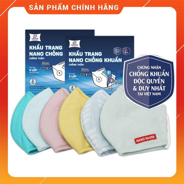 Khẩu trang vải kháng khuẩn 3 lớp Nano Bạc Hanvico, vải mền, màu trơn giặt được nhiều lần - Set 2 chiếc
