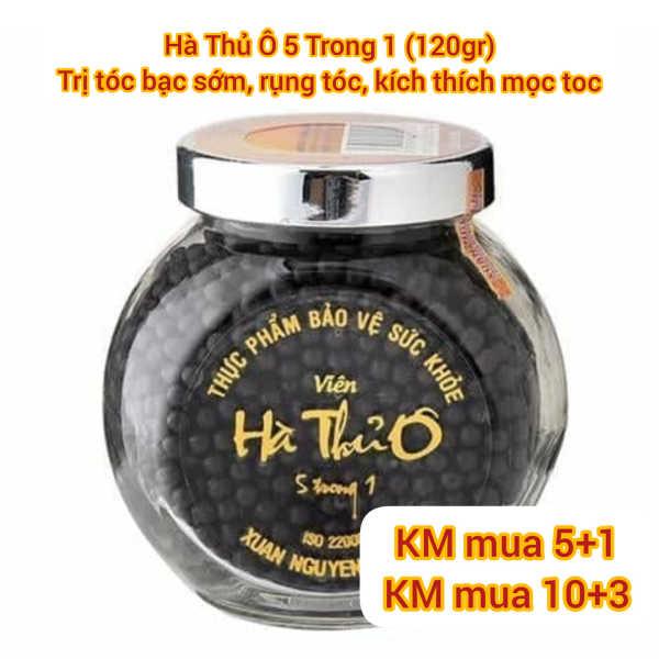 Hà Thủ Ô 5 Trong 1 lọ thủy tinh 120gr Xuân Nguyên hỗ trợ giúp tóc bạc sớm, làm đen râu tóc