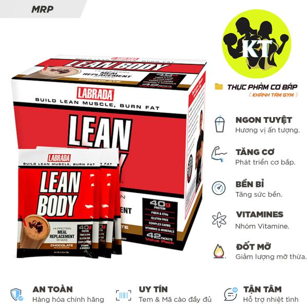 Bữa ăn thay thế - Tăng cơ - Giảm mỡ  Lean Body Chocotate LABRADA 80 Gói cao cấp
