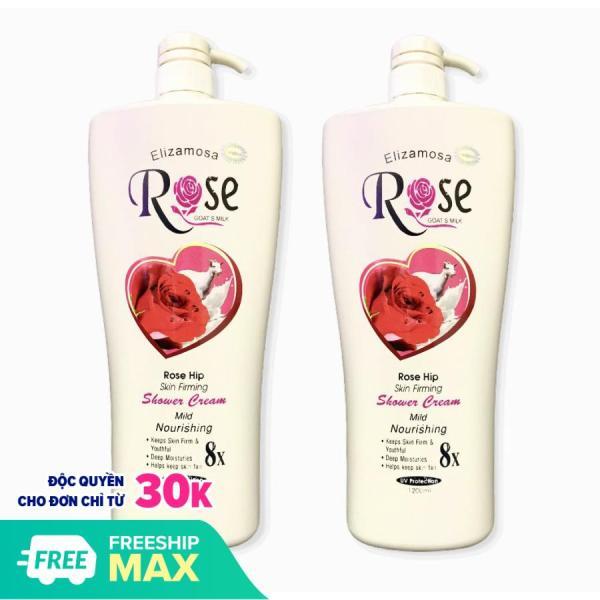 Combo 2 chai Sữa Tắm Dê Cao Cấp ngăn tia UV Elizamosa Rose 8x Goats Milk Shower Cream 1200ml Hương hoa hồng - PYT Shop