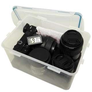 Combo hộp chống ẩm máy ảnh và ẩm kế điện tử, 100gram hạt hút ẩm xanh - dung tích 4 lít (tặng mút xốp lót hộp) - 2TCAMERA-Q01111