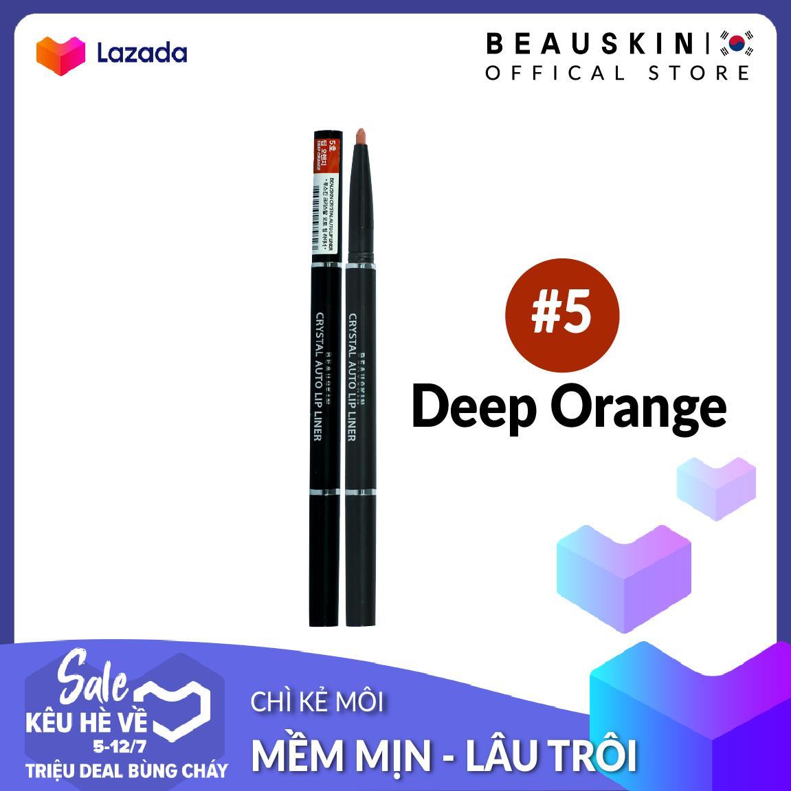 Chì vặn kẻ môi 2 đầu xinh xắn Beauskin Crystal Auto Lip Liner 5 Deep Orange tốt nhất