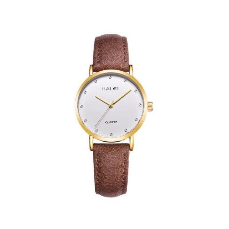 Đồng hồ nữ Halei 542 dây da cao cấp cực xinh