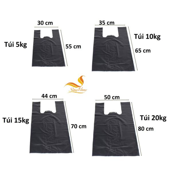 Túi nilon đen đựng rác có quai 2kg, 5kg, 10kg, 15kg, 20kg