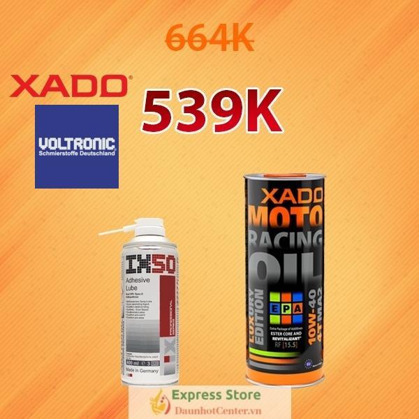 Combo Nhớt Xado Racing 10w40 + Xịt Dưỡng Sên Voltronic IX50 400ml | Siêu Tiết Kiệm - Dầu Nhớt Center | Express Store Đang Giảm Giá