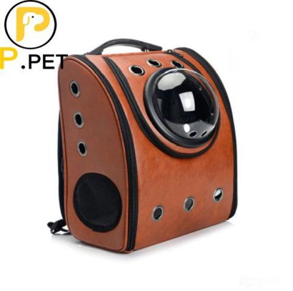 Túi vận chuyển chó mèo - Ba lô phi hành gia cho chó mèo - Màu Nâu - Dành cho thú cưng có trọng lựơng dưới 6kg (P.Pet)
