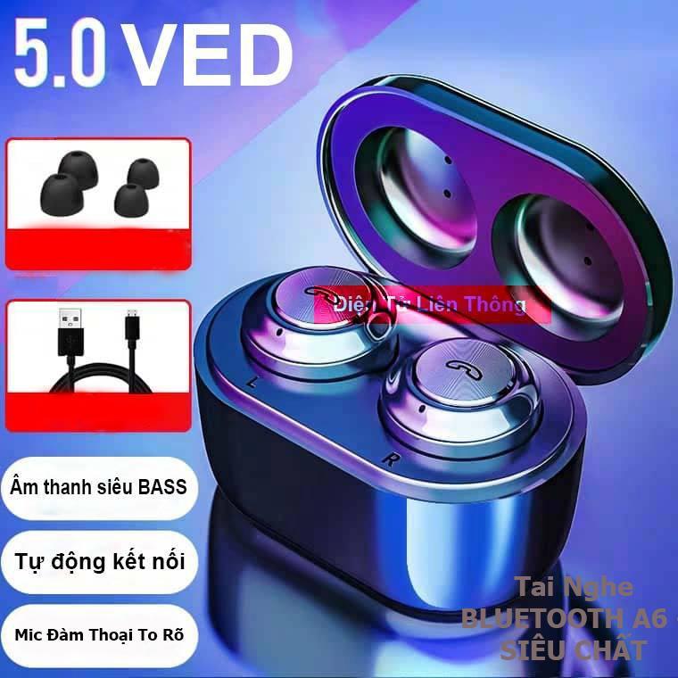 (CAO CẤP) Tai Nghe Bluetooth Không Dây - Siêu Bass Wireless A6 - Chống Nước IP5X - Pin Khủng 100h - Tự Động Kết Nối