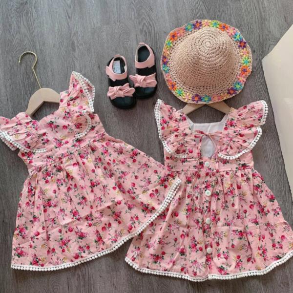 Giá bán Váy hoa cánh tiên bo viền ren cực xinh cho bé gái - VBG-CTVienRen