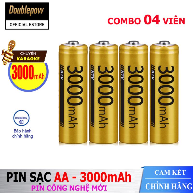 [Hộp 4 viên] Pin sạc AA 3000mAh Doublepow -Pin cao cấp chuyên dụng cho Micro Karaoke  - (pin màu vàng) - Bảo hành chính hãng