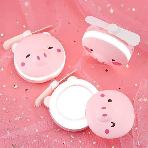 Gương đèn led có quạt hình heo, Quạt mini sạc pin kèm gương, Quạt cầm tay 3 in 1 đa năng hình thú ngộ nghĩnh, đáng yêu