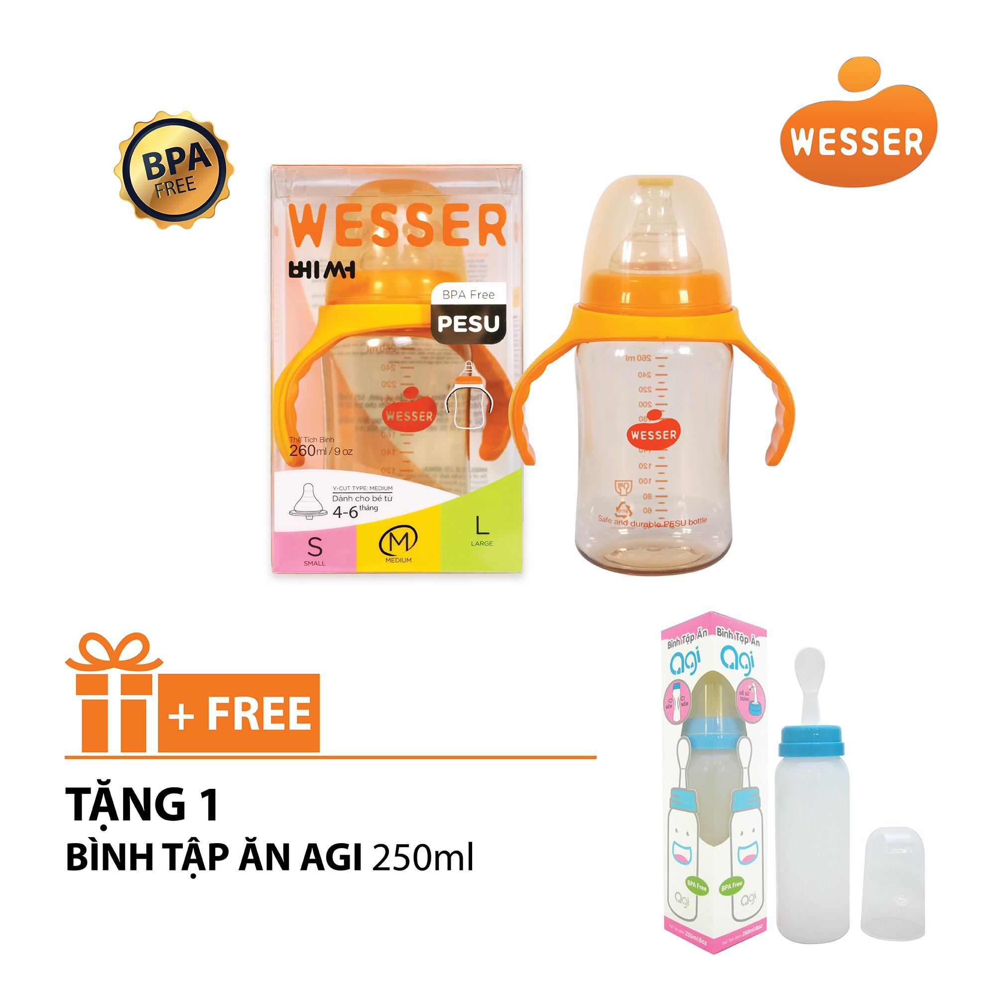 Hot Deal Khi Mua Bình Sữa Wesser PESU 260ml + Tặng Bình Tập ăn Agi 250ml