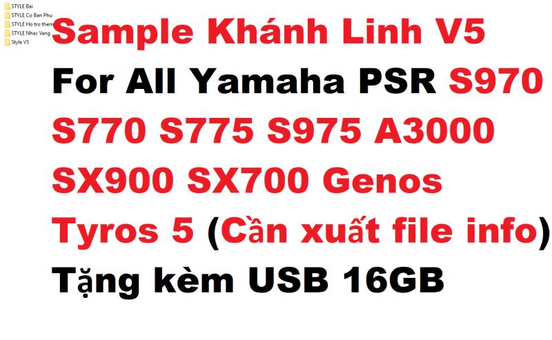 Sample Khánh Linh V5 For All Yamaha PSR S970 S770 S775 S975 A3000 SX900 SX700 Genos Tyros 5