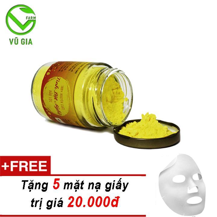 Tinh Bột Nghệ Nguyên Chất Bảo Lộc VG (100gr/hũ) + Tặng 5 Mặt Nạ Giấy Đắp Mặt ( trị mụn trứng cá )
