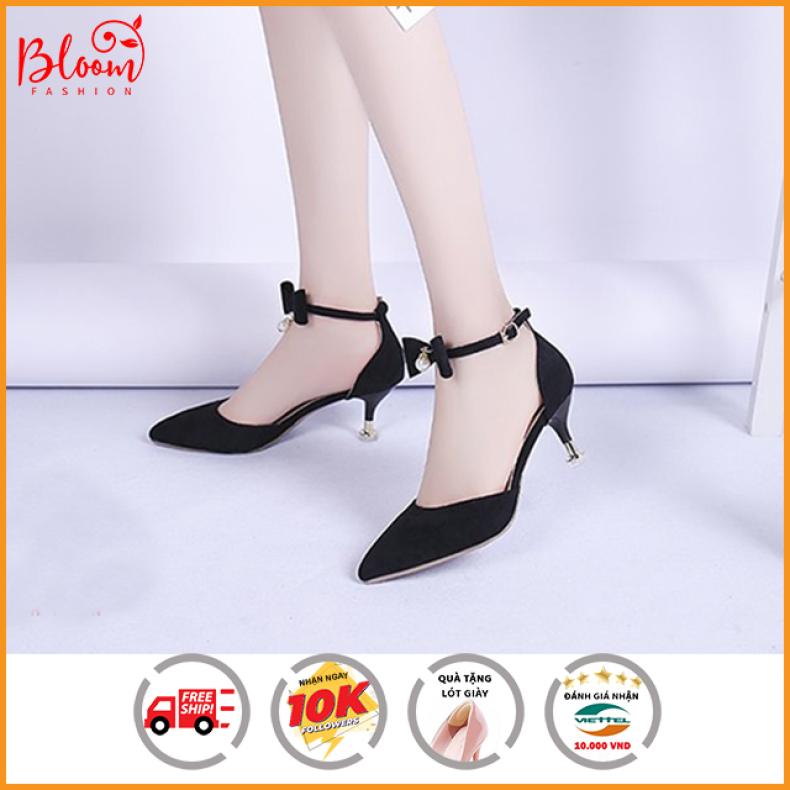 Giày cao gót sandal nữ 5p đế nhọn mũi nhọn phối nơ BLOOM | Hàng VNXK + Tặng Kèm Lót Giày Xịn giá rẻ