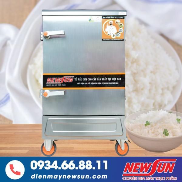 Tủ Nấu Cơm 8 Khay Điện Gas NEWSUN Nhập Khẩu - Bên ngoài inox 201 bên trong inox 304