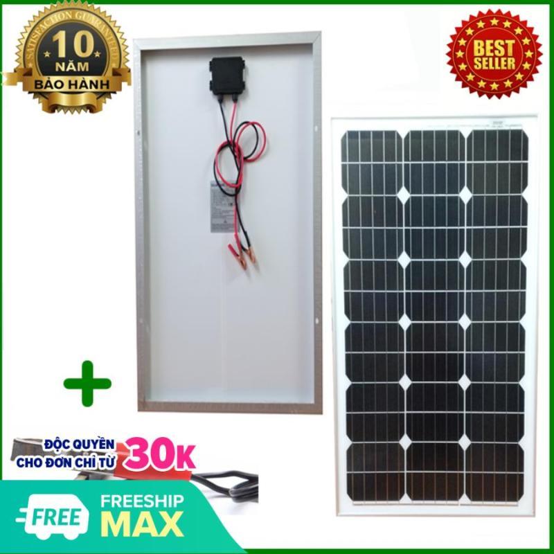 Tấm Pin năng lượng mặt trời đơn tinh thể Mono 60W tặng kèm kẹp bình acquy
