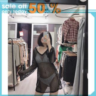 Áo dài tay mặc ngoài bikini đi biển lưới đen thumbnail