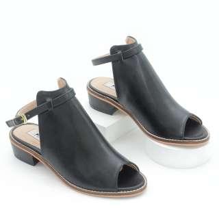 Giày Giả Boot 3cm Đế Vuông Hở Mũi Màu Đen Pixie P295