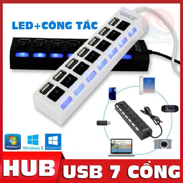 Bảng giá Bộ Hub Chia USB 7 Cổng Cắm, Có Công Tắc Và Đèn Led, Cổng Sạc 5V Tròn Mở Rộng Khi Cần Cấp Nguồn Bằng Sạc, Sạc Và Truyền Dữ Liệu, hub chia cổng usb 2.0, cổng chia usb có đèn, hub chia usb 4 cổng, hub chia cổng USB Cuu Phong Vũ