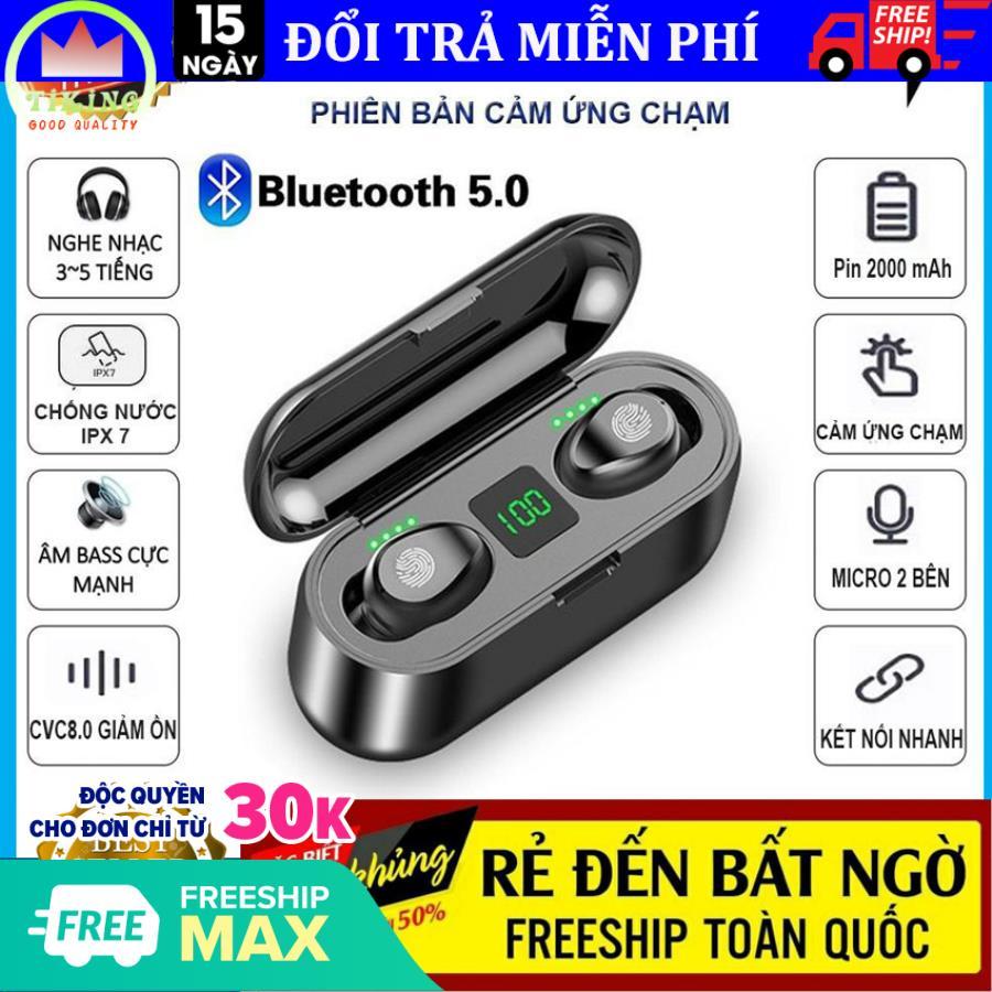 Tai nghe bluetooth 5.0 Amoi F9 kiêm sạc dự phòng 2000mAh, điều khiển cảm ứng, màn led báo pin, chống nước, Bảo hành 12 tháng lỗi 1 đổi 1, tai nghe không dây, tai nghe bluetooth không dây, hay hơn tai nghe i7s và tai nghe i11