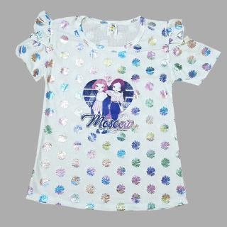 Siêu HOT - Áo thun bé gái trễ vai in hoạt hình 3D họa tiết màu ánh kim size 7-29kg chất cotton đũi siêu mềm mại