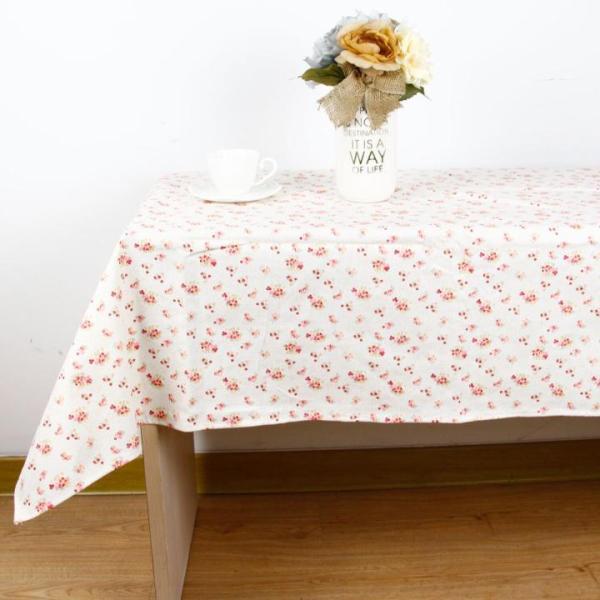 Khăn trải bàn Mary Decor - Họa tiết Hoa nhí vàng hồng nhạt - Đủ kích thước