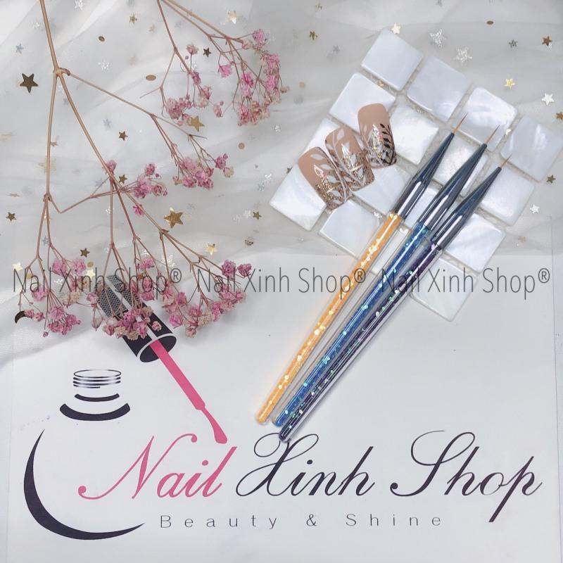 Set cọ vẽ gel, cọ vẽ móng tay nghệ thuật, nail art (1 bộ 3 cọ râu vẽ nét mỏng  cán kim tuyến)