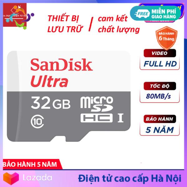 Thẻ nhớ Sandisk Ultra 32GB/16GB up to 80MB/s - Thẻ Sandisk Ultra chuyên dụng cho Camera, Máy ảnh, Thẻ nhớ Mico SDHC chính hãng,, Tốc độ đọc ghi lên đến 80MB/s, Thẻ nhớ Class 10,...  Hàng Chính Hãng - Bảo Hành 5 Năm