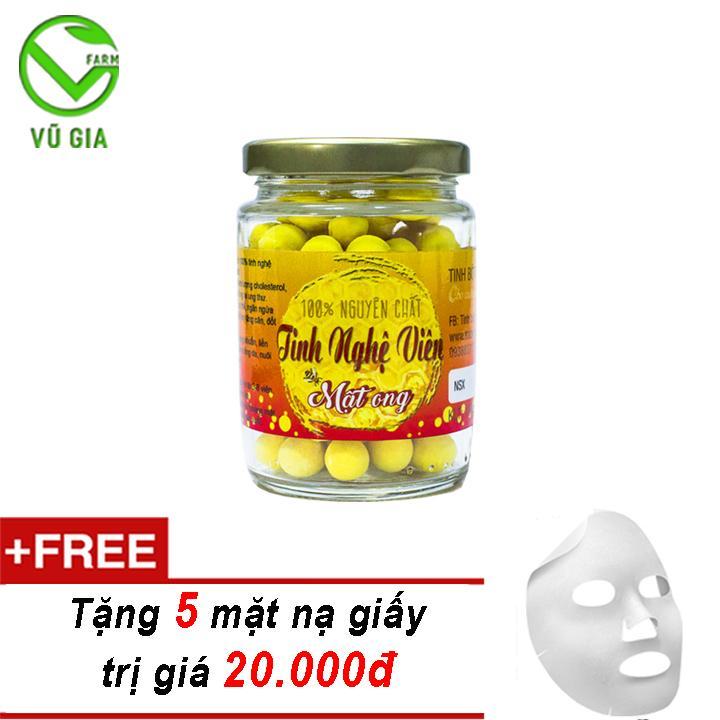 Tinh Nghệ Viên Mật Ong Nguyên Chất Bảo Lộc VG  (100gr/hũ) + Tặng 5 Mặt Nạ Giấy Đắp Mặt ( điều trị dạ dày )