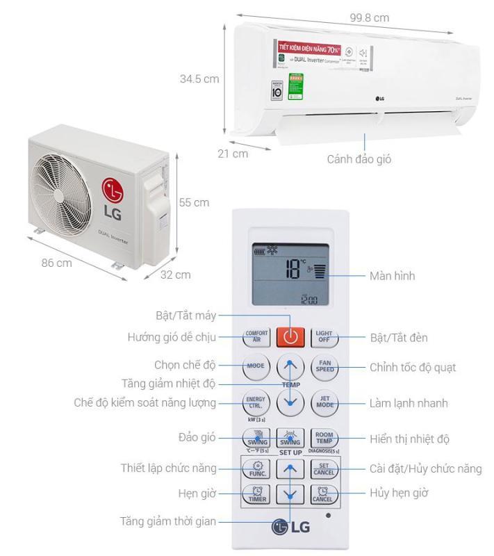 Bảng giá Máy lạnh LG Inverter 2.0HP V18ENF