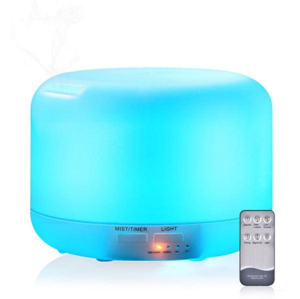 Máy khếch tán tinh dầu phun sương tạo ẩm siêu âm loại lớn aroma diffuser Trụ Tròn, Đèn Led đổi 16 màu, có điều khiển